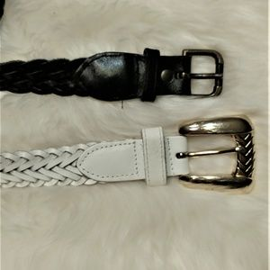 Accessories - Black Braided and White Braided Leather Belts